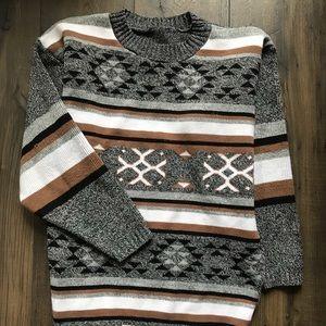 Sweaters - Vintage Unisex Sweater Tribal Pattern Stripes